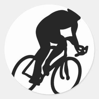 cyclist tour de france racing bike classic round sticker