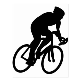 cyclist tour de france racing bike postcard