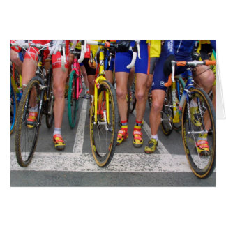Cyclist Wheels at Starting Line Greeting Card