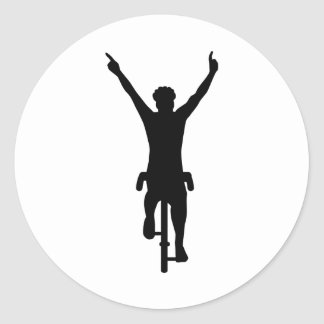 Cyclist winner classic round sticker