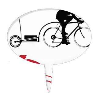 Cyclist with a trailer cake topper