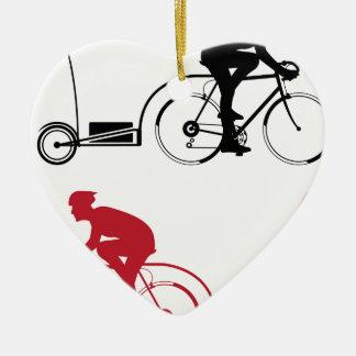 Cyclist with a trailer ceramic ornament