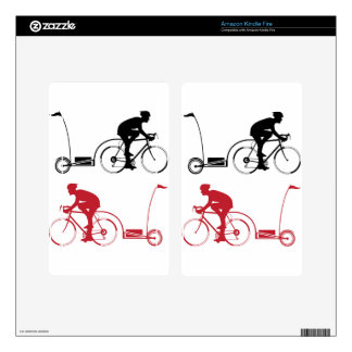 Cyclist with a trailer decal for kindle fire