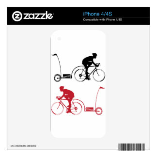Cyclist with a trailer iPhone 4 skin