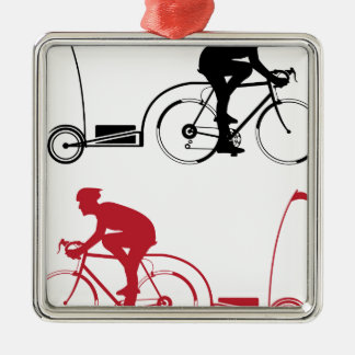Cyclist with a trailer metal ornament