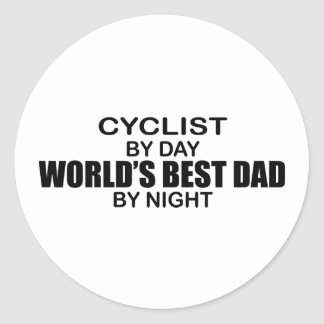 Cyclist World's Best Dad by Night Stickers