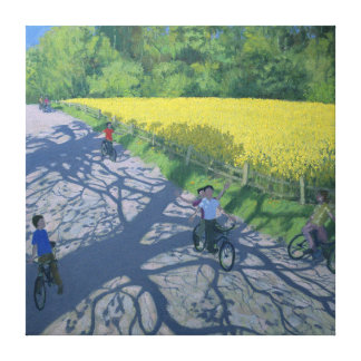 Cyclists and Yellow Field Kedleston Derby Canvas Print