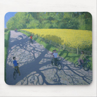 Cyclists and Yellow Field Kedleston Derby Mouse Pad