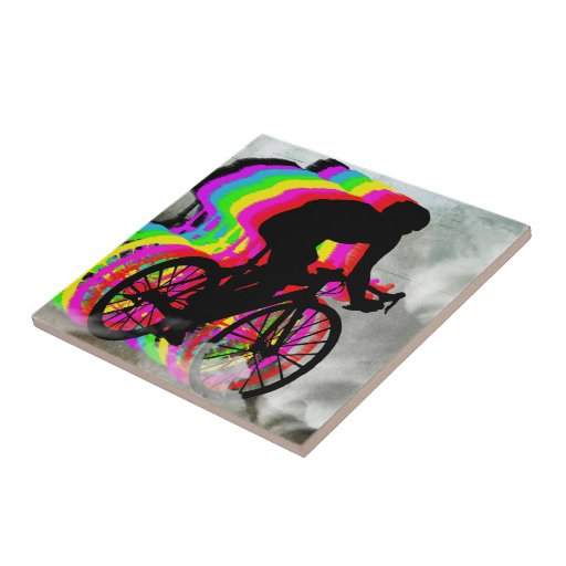 Cyclists Cycling in the Clouds Tiles