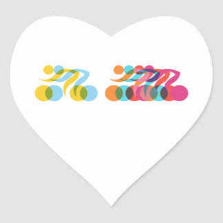 Cyclists group cool and unique design heart sticker