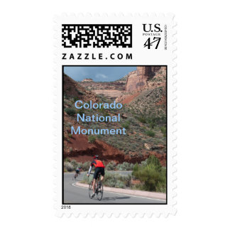 Cyclists on the Colorado National Monument Postage
