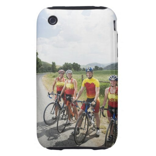 Cyclists posing on country road iPhone 3 tough case