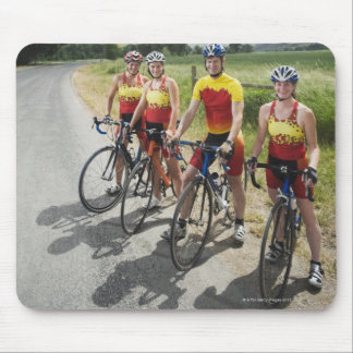 Cyclists posing on country road mouse pad