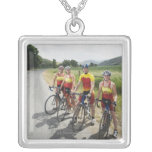 Cyclists posing on country road square pendant necklace