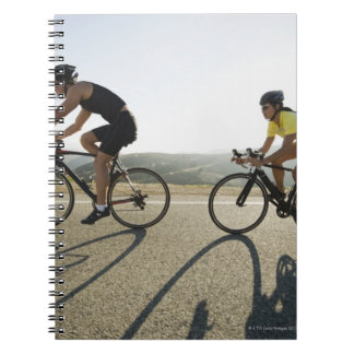Cyclists road riding in Malibu Spiral Notebook