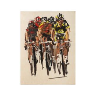 Cyclists Wood Poster