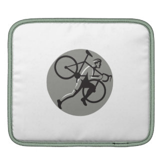Cyclocross Athlete Carrying Bicycle Circle Retro iPad Sleeves