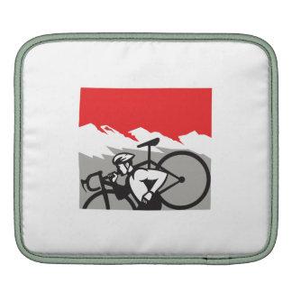 Cyclocross Athlete Running Carrying Bike Alps Retr iPad Sleeves