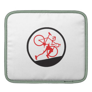 Cyclocross Athlete Running Uphill Circle Sleeve For iPads