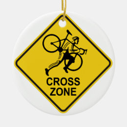 Cyclocross Zone Road Sign Ceramic Ornament