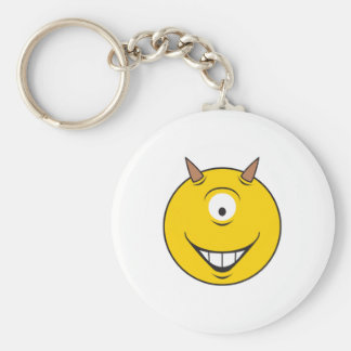 Cyclops Monster  Smiley Face Basic Round Button Keychain