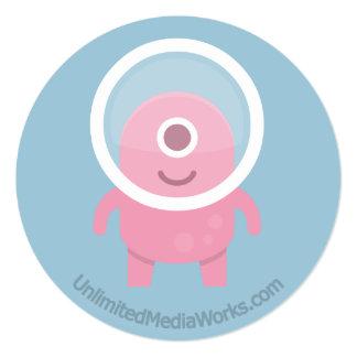 """Cyclops rosados lindos extranjeros invitación 5.25"""" x 5.25"""""""