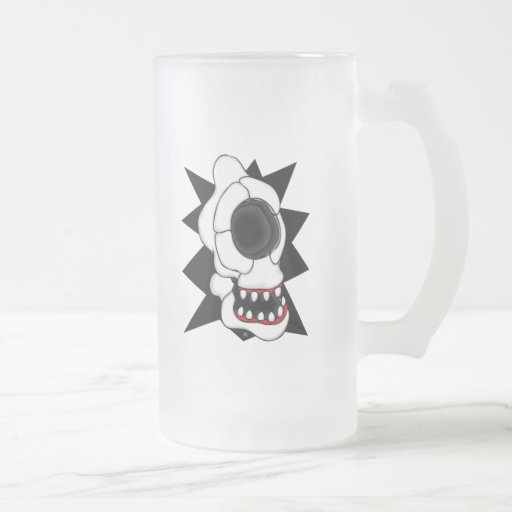 CYCLOPS SKULL 2 16 OZ FROSTED GLASS BEER MUG