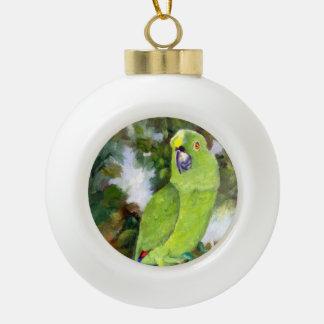 Cydney Yellow Naped Parrot Ceramic Ball Christmas Ornament