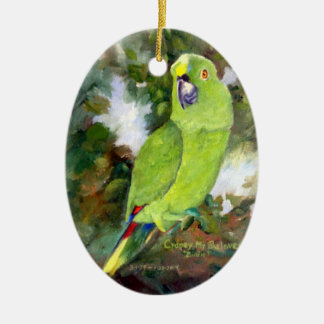 Cydney Yellow Naped Parrot Ceramic Ornament