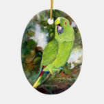 Cydney Yellow Naped Parrot Double-Sided Oval Ceramic Christmas Ornament