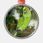 Cydney Yellow Naped Parrot Round Metal Christmas Ornament