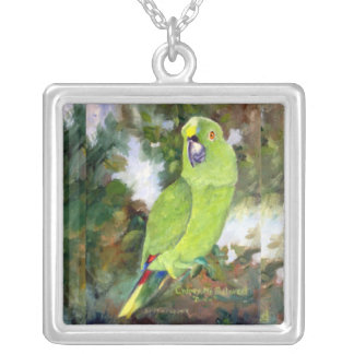 Cydney Yellow Naped Parrot Silver Plated Necklace