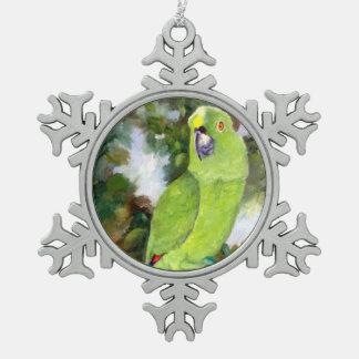 Cydney Yellow Naped Parrot Snowflake Pewter Christmas Ornament