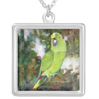 Cydney Yellow Naped Parrot Square Pendant Necklace