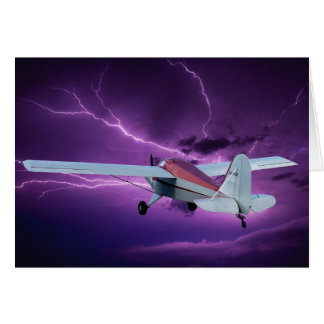 Cygnet Airplane Fying into Lightening Card