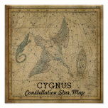 Cygnus Swan Constellation Star Map Poster