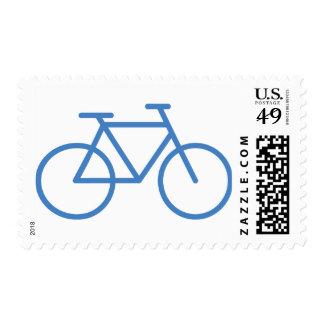 cylce azul de la bicicleta del icono de la bici estampillas