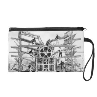 Cylinder printing press invented by Richard March Wristlet Purse