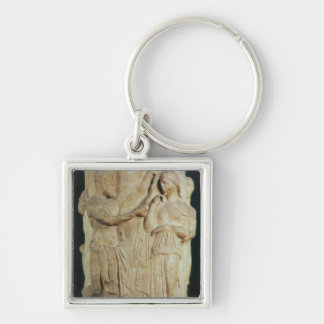 Cylindrical altar depicting sacrifice of Alceste Silver-Colored Square Keychain