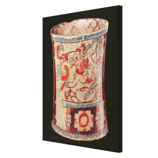 Cylindrical depicting a deity with speech curls stretched canvas print