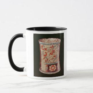 Cylindrical depicting a deity with speech curls mug