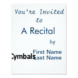 cymbals text black 4.25x5.5 paper invitation card