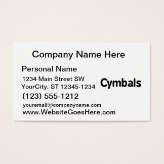 cymbals text black business card