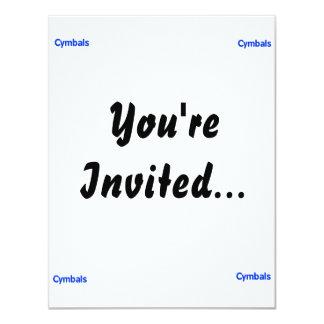 cymbals text blue 4.25x5.5 paper invitation card
