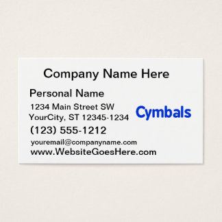 cymbals text blue business card