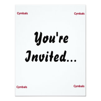 cymbals text burgundy 4.25x5.5 paper invitation card