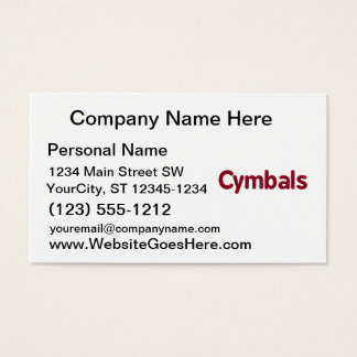 cymbals text burgundy business card