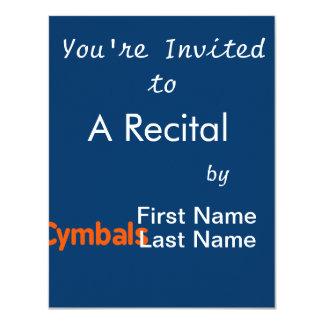 cymbals text d orange 4.25x5.5 paper invitation card