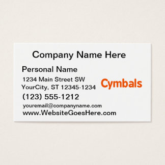 cymbals text d orange business card