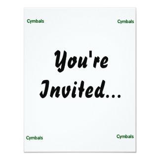 cymbals text green 4.25x5.5 paper invitation card